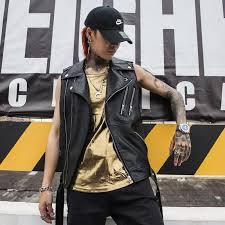 men s high quality leather vest punk personality sleeveless jacket men motorcycle biker colete waistcoat stage singer costume