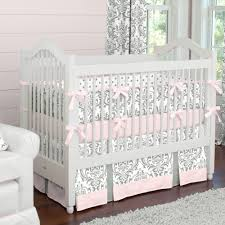 pink and gray traditions 2 piece crib bedding set