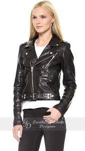women black lambskin leather belted motorcycle jacket front view