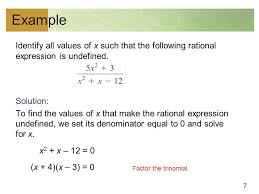 7 example identify all values of x such that the following rational expression is undefined