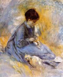 the young woman with a dog pierre auguste renoir oil painting in factory all paintings are satisfaction guaranteed