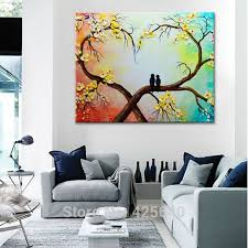 canvas painting palette knife 3d texture acrylic flower tree love birds painting wall art pictures for