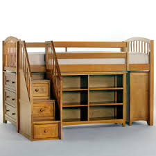 brave kids bedroom decoration ideas with wooden high beds with open shelf storage also drawers stairs as classic kids bedroom designs