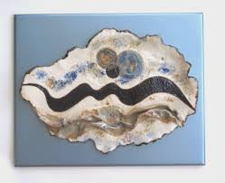 abstract ceramic wall art sculpture blue white contemporary