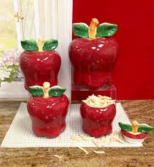 apple kitchen decor. amazon.com - set of 4 apple shaped red ceramic canisters country kitchen home decor new storage and organization product sets