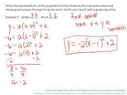 essential question how do you sketch graphs and write equations of parabolas