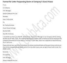 Formal Letter To Request A Room In Companys Guest House Ca Club
