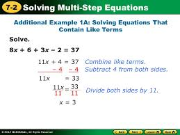 solving multi step equations 7 2 solve