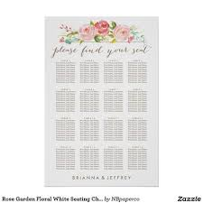Rose Garden Floral White Seating Chart Poster Zazzle Com