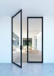modern glass interior doors double glass pivoting door with steel look frames modern glass internal doors