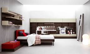 modern minimalist bedroom furniture. Amazing Bedroom Decorating Wall Color Gray And Red White Bed Design With Modern Minimalist Furniture 1