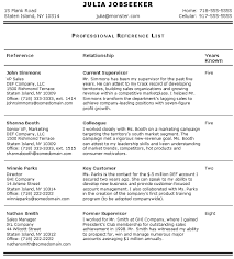 Reference List For Resume Template I Like This Format For Professional References Reference