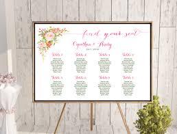 Custom Hot Pink Floral Wedding Seating Chart Printable