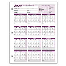 Work Tracker Attendance Calendar Cards 8 X 11 Cardstock Pack Of 25 Sheets 2020