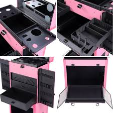 aw pro rolling cosmetic multifunction makeup case w lights mirror telescopic legs 4 wheels