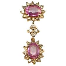 unheated natural pink sapphire pendant pink sapphire diamond pendant 14k gold oval sapphire pendant double drop