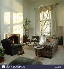Plaid Living Room Furniture Interiors Eighties Livingroom Grey Stock Photos Interiors