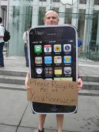 iphone costume. fortune blogger philip elmer-dewitt spotted this eco-conscious iphone evangelist in new york. the apple-themed crusader was reminding us to think about iphone costume