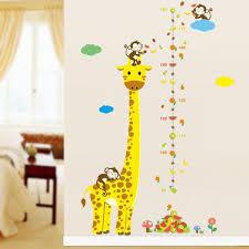 Cartoon Giraffe Kids Growth Chart Height Measure For Home Kids Rooms Diy Wall Stickers Am805