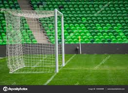 grass soccer field with goal. Football, Soccer Field. Goal. Background Of Football Goal In Stadium On Grass Field With C