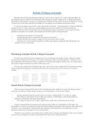 Best Photos Of Sample Critique Apa Format Journal Article Critique