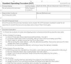 Military Standard Operating Procedure Template