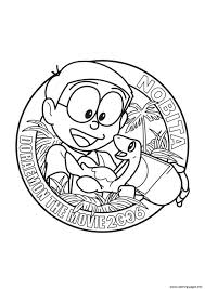 Bown, red, green, blue, pink, violet. Nobita In Doraemon The Movie 450c Coloring Pages Printable