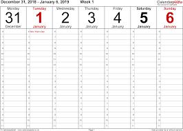 Weekly Calendar Free Print Printable Calendar 2019 Weekly Printable Calendar 2019