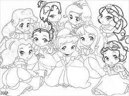 Little Disney Princesses Very Cute Coloring Page For Girls Disney