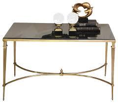 global views french square leg table brass and black granite
