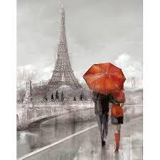 paris couple talking with red umbrella canvas wall art  on couple with red umbrella wall art with paris couple talking with red umbrella canvas wall art 15 x 19