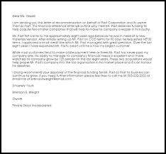 Financial Reference Letter Example Letter Samples Templates