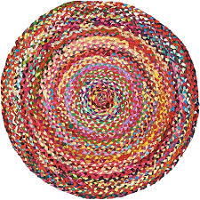 unique loom braided chindi multi 3 3 x 3 3 round rug