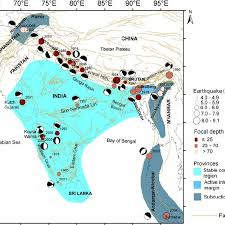 12% of the area comes under zone v (a&n islands, bihar, gujarat, himachal pradesh, j&k. A Tectonic Map Of India Depicting The Epicentres Of The Earthquakes Download Scientific Diagram