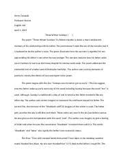 in conclusion those winter sundays displays both directly and  4 pages those winter sundays essay
