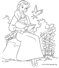 Small Picture Beauty And The Beast Belle is reading a book coloring page