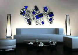 blue metal wall decor wall decor metal aviator silver blue black abstract metal wall art sculpture