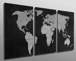 metal print black and gray world map 3 panel split triptych multi metal wall art hd aluminum prints for home decor interior design on iron and wood panel wall art in white with aluminum art panels etsy