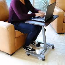 new height adjule rolling laptop desk cart bed hospital notebook table brown