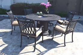 fire pit dining table. Image Is Loading Cast-Aluminum-7-Piece-Round-Propane-Firepit-Dining- Fire Pit Dining Table