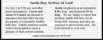 Birth Announcement In Newspaper Birth Announcement Wording For Newspaper Birth Announcements