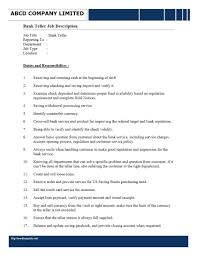 Bank Teller Description For Resumes Teller Job Description For Resume Enewspaper Club