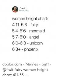 Puff Fairy Women Height Chart 411 53 Fairy 54 56