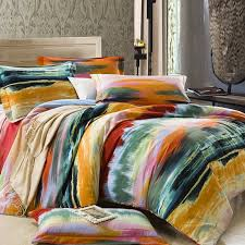 homely bedroom with fl pattern modern graphic duvet cover feat sun shape wall mirror decor ideas
