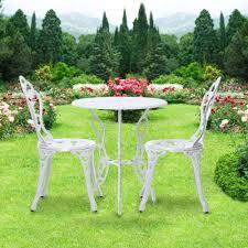 ikayaa patio outdoor bistro 3pcs iron aluminum cafe table chairs set