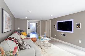 basement wall colors. trendy look-out concrete floor and gray basement photo in new york with wall colors y