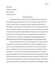 an article about texting and driving declares because text  distracted driving · 8 pages essay 4