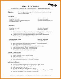 Math Tutor Resume Objective Beautiful Math Teacher Resume Examples
