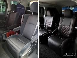 picture above is normal 7 seater toyota alphard vellfire changed to japan artina leather seat cover from normal fabric seat