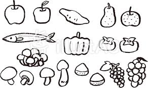 クレヨンで描いた秋の食べ物モノクロイラスト No 252156無料
